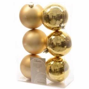 Christmas gold kerstboom decoratie kerstballen goud 6 stuks