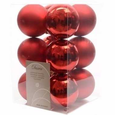 Christmas red kerstboom decoratie kerstballen rood 12 stuks