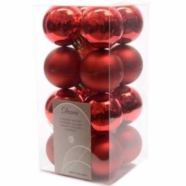 Christmas red kerstboom decoratie kerstballen rood 16 stuks