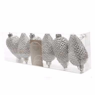 Christmas silver kerstballen dennenappelvorm glitter zilver