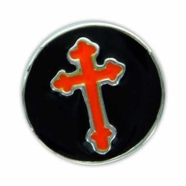 Chunk zwart met rood kruis 1,8 cm