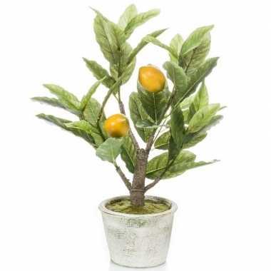 Citroenbomen/citrusbomen kunstplanten 45 cm in betonnen plantenpot