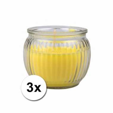 Citronella geurkaarsen geel 3 stuks