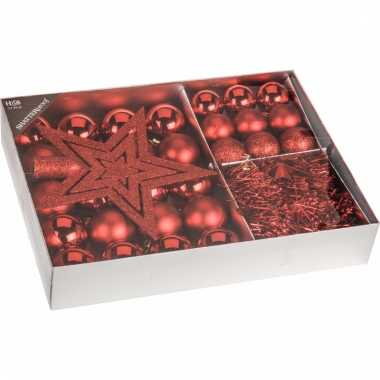 Classic red kerstboomdecoratie 33 delig rood