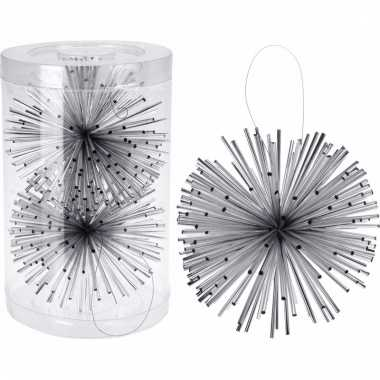 Classic silver hang decoratiebol zilver 11 cm