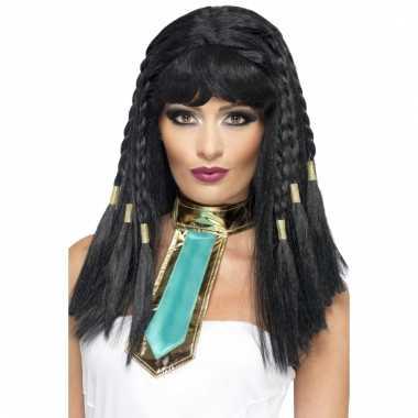Cleopatra pruik met 3 vlechten