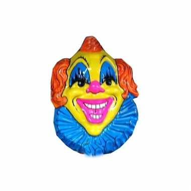 Clown muurdecoratie 60 cm geel/blauw