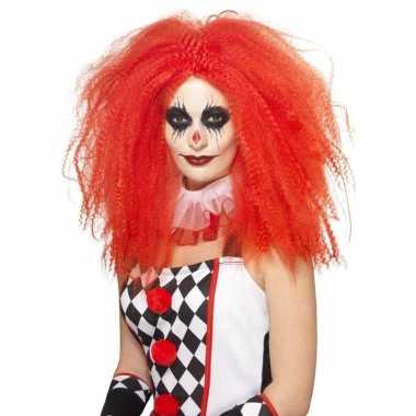 Clowns pruik xl rood voor volwassenen
