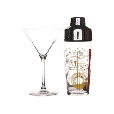 Cocktailshakers set met glazen