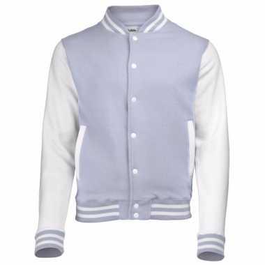 College jacket/vest grijs/wit voor heren
