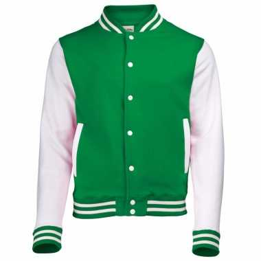 College jacket/vest groen/wit voor heren