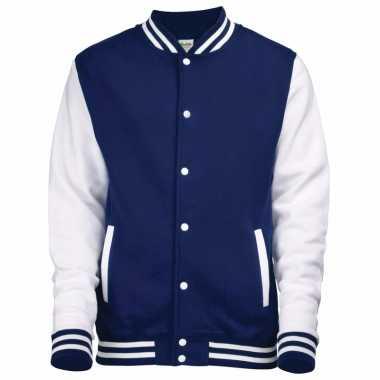 College jacket/vest navyblauw/wit voor heren
