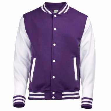 College jacket/vest paars/wit voor heren