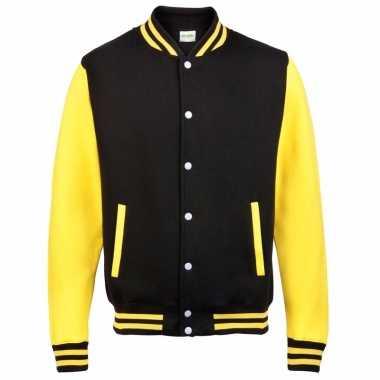 College jacket/vest zwart/geel voor heren