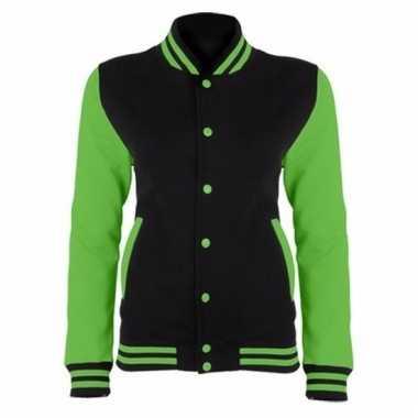 College jacket/vest zwart/neongroen voor dames