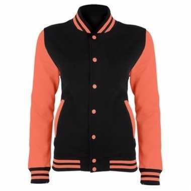 College jacket/vest zwart/neonoranje voor dames