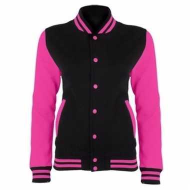 College jacket/vest zwart/neonroze voor dames