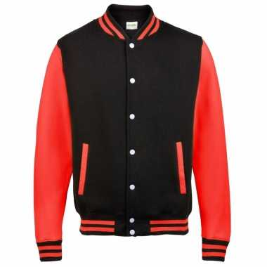 College jacket/vest zwart/rood voor heren