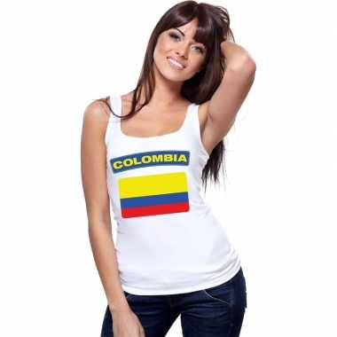Colombia vlag mouwloos shirt wit dames