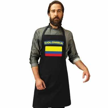 Colombiaanse vlag keukenschort/ barbecueschort zwart heren en dames