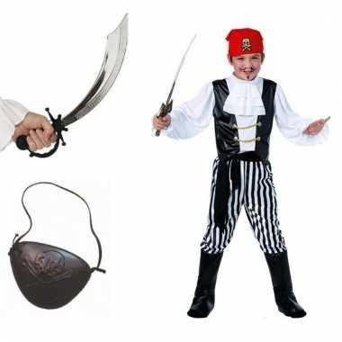 Complete verkleed piraten outfit voor kinderen maat s