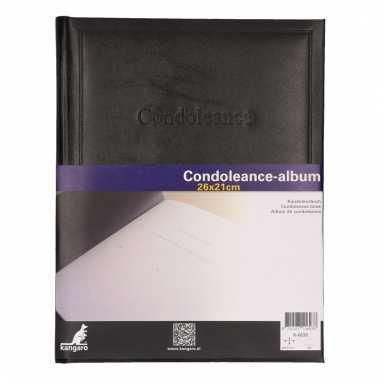 Condoleance register boek zwart 26 x 21 cm