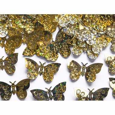 Confetti gouden holografische vlinders 15 gram