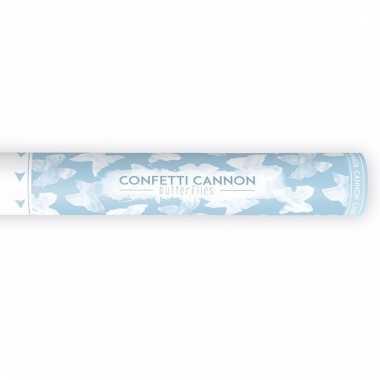 Confetti kanon bruiloft vlinders wit 40 cm