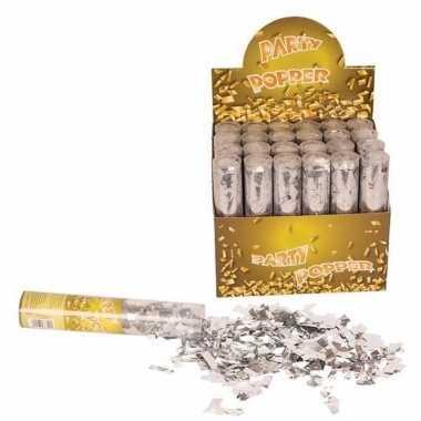 Confetti kanon zilver 20 cm