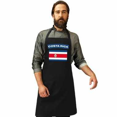 Costa ricaanse vlag keukenschort/ barbecueschort zwart heren en dames