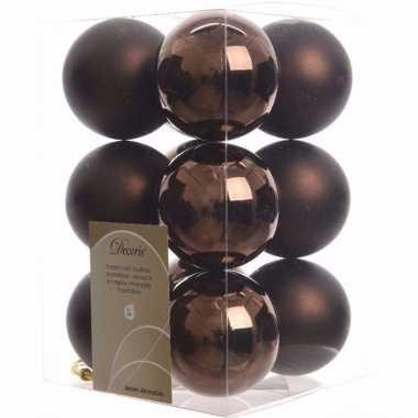 Cosy christmas kerstboom decoratie kerstballen bruin 12 stuks