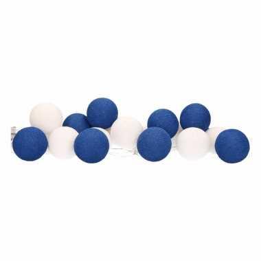 Cotton balls blauw/wit lichtsnoer