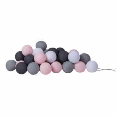 Cotton balls lichtroze en grijze lichtsnoer