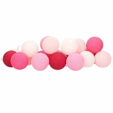 Cotton balls roze lichtsnoer