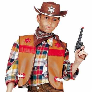Cowboy gilet voor kinderen bruin