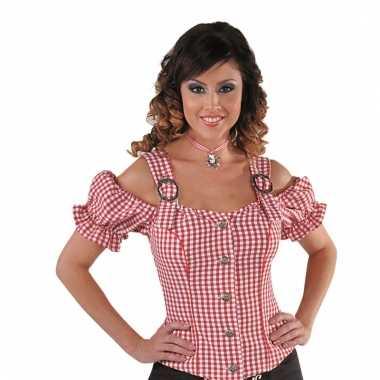 Cowboy overhemd voor dames rood off shoulder