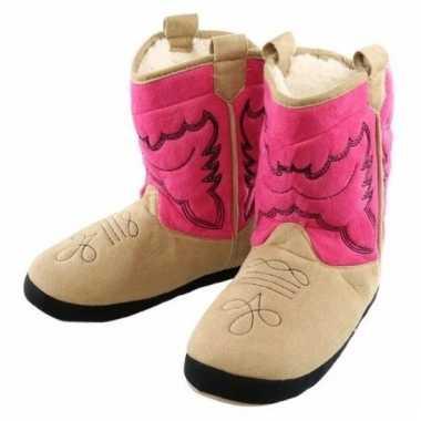Cowboy pantoffels roze voor vrouwen