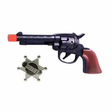 Cowboy speelgoed pistool met sheriff ster