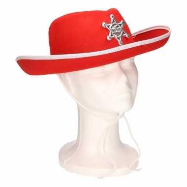 Cowboyhoeden voor kinderen rood/wit
