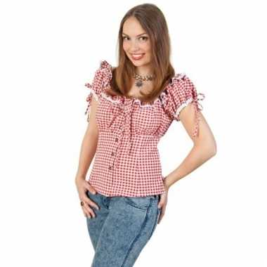 Cowgirl blouse rood/wit voor dames