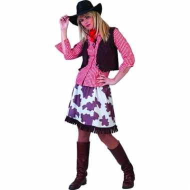 Cowgirl blouse voor dames rood/wit