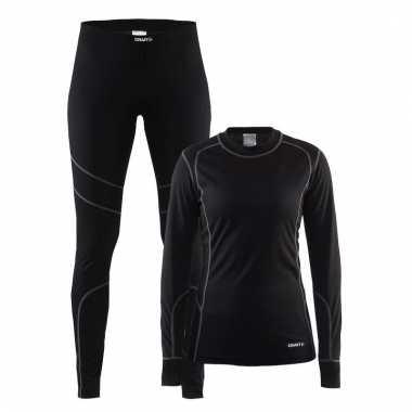 Craft buiten werk thermo ondergoed set zwart voor dames