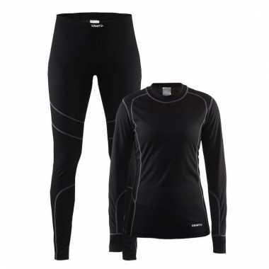Craft thermo sportkleding ondergoed set zwart voor dames