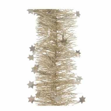 Creme tinsel slinger met sterren 270 cm
