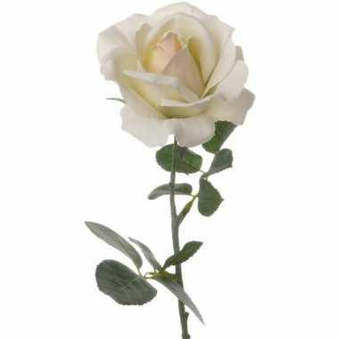 Creme witte kunstroos kunstbloemen 37 cm decoratie