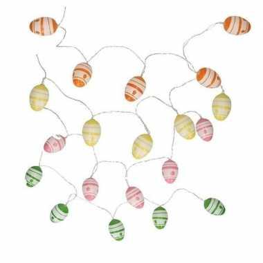 Decoratie paaseieren groen/witte led lichtsnoer op batterijen 192 cm