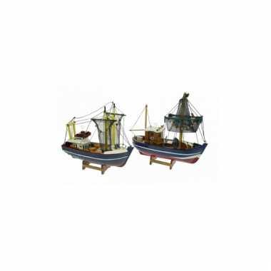 Decoratie vissersboot met groene masten 24 cm