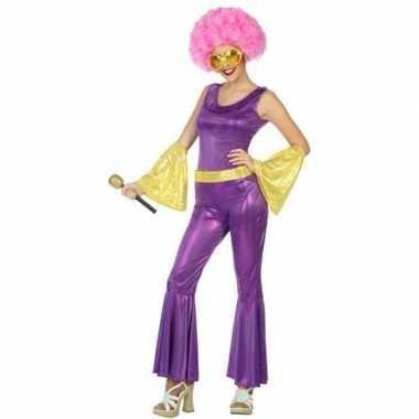 Disco 1970s kostuum goud/paars voor dames