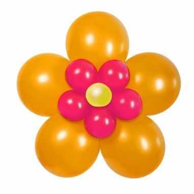 Doe het zelf ballon figuur bloem oranje/roze