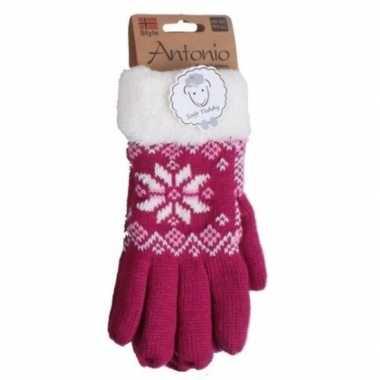 Donker roze winterhandschoenen nordic voor dames